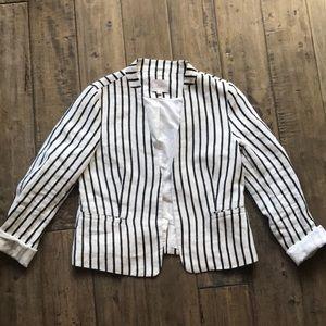 Ann Taylor LOFT 100% linen striped blazer M